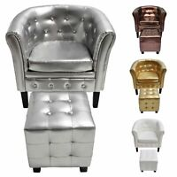 Tub Chair and Stool set with Footstool Faux Home Leather Lounge Arm Chair
