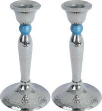 Taper Candle Holders Set of 2 Shabbat Candlesticks Silver Hammered Design 5 Inch