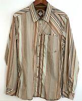PrAna Striped Long Sleeve Button Front Shirt Mens L Brown Stripe