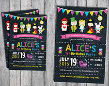 ALICE IN WONDERLAND Personalised Invitation Baby Shower First Birthday FairyTale