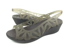 Crocs Adrina III Mini Wedge Womens 9 Gray Peep Toe Slingback Sandals Heels