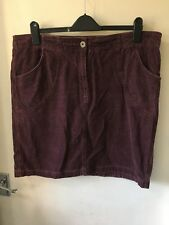 Crew Clothing Burgundy Needlecord Skirt Size 16 90s Trend