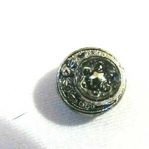"""Antique Black Glass Sewing Button Moon + Sun Silver Luster w/Cut Steel - 7/16"""""""
