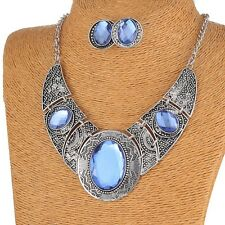 Vintage Womens Carved Tibet Silver Wide Crsytal Bling Collar Chain Necklace Set