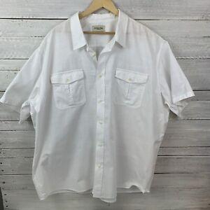 St John's Bay Size 4 - 5XL 90's Retro White Cotton Short Sleeve Mens Shirt #555