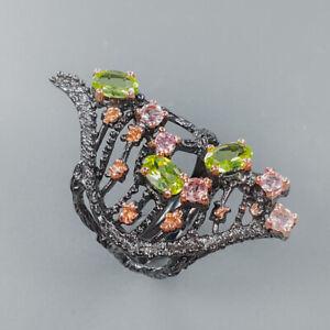 Fine Art Jewelry SET Peridot Ring Silver 925 Sterling  Size 8 /R158533