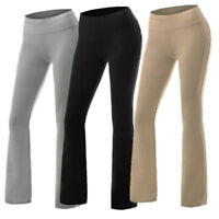 Ladies Yoga Pants Athletic Foldover Stretch Casual Comfy Wide Leg Leggings S-XL