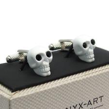 Cufflinks White Skull with Black Eyes by Onyx Art Goth Gothic Gift Boxed CK903