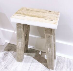 Mango Wooden Stool - Natural colour, Height 40cm