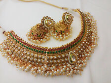 Indian Fashion Jewelry Wedding Necklace Earring Bollywood ethnic traditional set