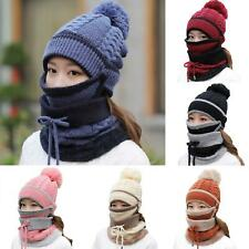 AU_ 3Pcs Women Beanie Hat Winter Thicken Warm Knitted Pompom Cap Mask Neck Scarf