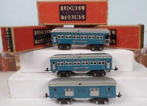 Vintage Prewar Lionel O Gauge Blue / Silver Passenger Car Set 600 & 601 & 602