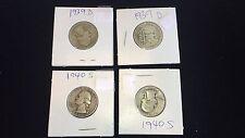 Washington Quarters - Lot Of 4 - 2 Pieces 1939 D & 2 Pieces 1940 S