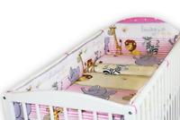 BABY 5PC BEDDING SET ALLROUND BUMPER COTBED 140x70CM DUVET PILLOW Safari Pink
