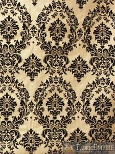 "Taffeta Damask Velvet Flocking Fabric 58"" Wide Sold By The Yard"