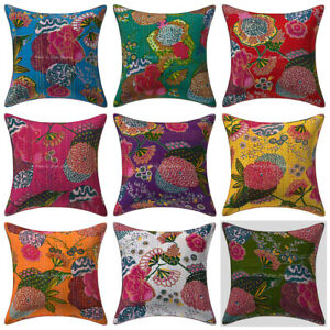 Indian Kantha Printed Cotton Cushion Cover Hand Embroidered Cotton Pillow Case