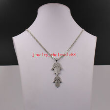 Fashion Necklace women Men 22'' Stainless steel Religious Hand Hamsa Pendant