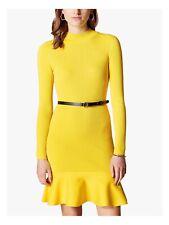 Karen Millen Peplum Knit Dress Yellow Large Fits UK Size 16