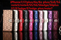 Fashion Luxury Flip Cover Wallet Leather Case for iPhone Samsung Cases strap MK
