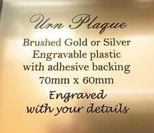 Urn Plaque engraved laserable plastic brushed gold 70x60mm