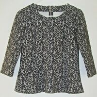 J.CREW Black Lace Over White 3/4 Sleeve Peplum Blouse Top Women S Exposed Zipper
