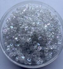 20g clear dull rainbow square seed beads - stock in AUD # W18 - 0.3 x 0.35cm