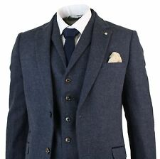 Mens 3 Piece Wool Blend Herringbone Tweed Suit Blue Brown Vintage Tailored Fit