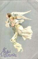 Easter Card A Joyful Eastertide postcard antique two angels flying cute adorable