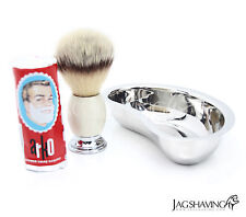 3 Piece Gift Shaving Set with Best Shaving Brush and stainless steel shave bowl