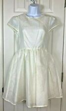Topshop Dress 6 Ivory Crepe Delicate Cutout Lined Cap Sleeves Glimmer Full Skirt