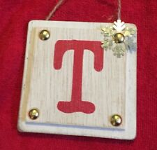 "Ganz Rustic Christmas Initial Ornament ""T"" Metal & Wood New Initial Monogram"