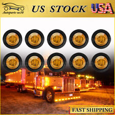 """10x Amber 3/4"""" Clearance Marker Lights Diode Led Truck Trailer Indicator Lamp Us"""