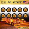 "10x Amber 3/4"" Clearance Marker Lights Diode LED Truck Trailer Indicator Lamp US"