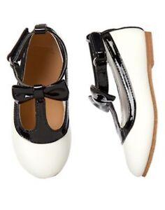 NWT GYMBOREE Bonjour Bright Bow T strap white Black Flats shoes 10