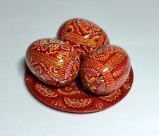 3 wooden Easter eggs hand painted Ukrainian Pysanka on plate Red from Ukraine