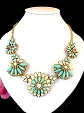 GORGEOUS NWT J. CREW GOLD-TONE TURQUOISE WHITE LUCITE RHINESTONE FLORAL NECKLACE