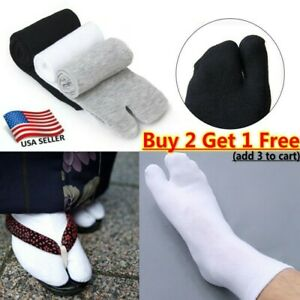 1/3Pairs Nylon Japanese Kimono Flip Flop Sandal Split Toes Tabi Ninja Soft Socks