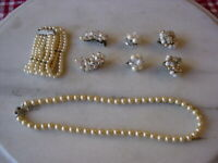Lot Vintage Faux Pearl Necklace, Bracelet, Bead Clusters Clip-On Earring White
