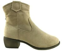 LADIES MICRO SUEDE COWBOY ANKLE BOOTS INSIDE ZIP FUR LINED SIZE UK 3-8