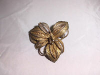 VTG Silver .500 Victorian Gold Wash Flower Filigree Ornate Pin Brooch