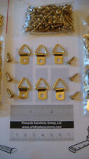 10 SMALL BRASS TRIANGLE D RING & 10 BRASS SCREWS PICTURE FRAMING + FREE SAMPLES