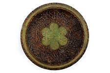 """Uno smalto Folk Art Dish. Legno & Ottone cepelia era 20th Century """"treen"""