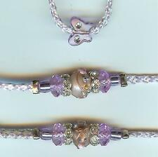 NEW! BEADED DOG SHOW LEAD LEASH/SLIP/TOY/LAVENDER IRRESDESCENT