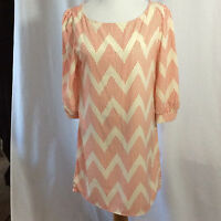 NEW Auditions Fashion Women's Large Chevron Red Ivory L Dress 3/4 Sleeve NWT