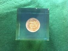 Crystalite Paper Weight, Quite heavy Cube with an old Gold Plated 1953 1/2 penny