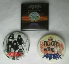 Anthrax 3 X Vintage Late 80s & 1991 US Pin Button Badges Heavy Metal Punk Rock