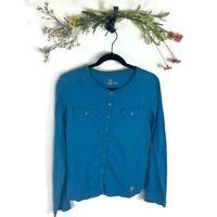 Carhartt Button Down Long Sleeve L/S Shirt Women's Medium Blue Excellent EUC