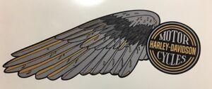 Harley-Davidson WINGS fuel tank decals Shovelhead  Black/Gray/Gold