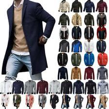 Men Winter Wool Trench Coat Long Jacket Slim Fit Cardigan Parka Casual Outerwear