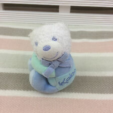 "Kaloo Small White Blue & Green Bear Rattle Comforter Soft Toy 4"" (2004)"
